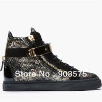 Free shipping gold snake print black flat metal fashion high top sneakers women's shoes size 35-46 men and women unisex sneakers