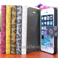 2013 New Leopard Skin Magnetic Flip Leather Hard Back Case for iPhone 5 5s 5th