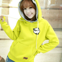 Winter women's fleece women's autumn female lovely outerwear slim yellow sweatshirt spring and autumn