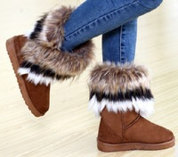 2013 Winter Fox Fur Rabbit Fur Tassel Shoes Female High-leg Cow Muscle Boots Outsole Snow Boots Winter Boots Ankle Boots