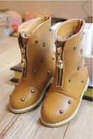 2014 new design autumn and winter leather girls shoes children boots  fashion rivets boots kids shoes