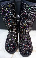 Diamond Black Pearl Diamond Rhinestone Colorful Tall snow boots winter warm fashion women's black genuine leather snow boots