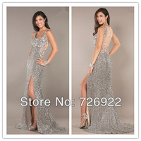 2014 New Arrival Silver Sequins See Through Formal Long Split Front Evening Dresses Prom Dress Customize Free Shipping
