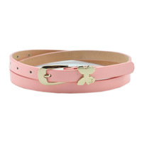 Japanned leather bow thin belt women's candy color strap female