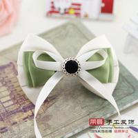 (MIN ORDER $15)Korean   manual long pale green ribbon bow hairpin p094