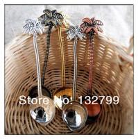 4x Euro Tropical Coconut Tree Shape Coffee Spoon Tea Spoons Decor Set Small