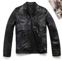 2014 new autumn men Calf skin street style motorcycle slim short design genuine leather coat leather jacket Y2P0