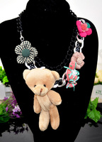 Min order $15(mix items) 2014 Fashion Korean Jewelry Ribbon Flower Bow Bear Multi-element Necklace