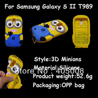 Despicable Me Minions Design Cartoon Cute silicone gel rubber Case For samsung galaxy S II T989 Back Cover Protective Shell