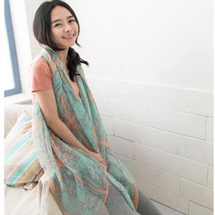 frete grátis 2 cashers imprimir fiado rayon lenço de seda outono e inverno capa fêmea cachecol dupla(China (Mainland))