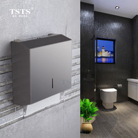 Luxury stainless steel square paper box toilet tissue paper holder with lock wall mounted toilet accessories set