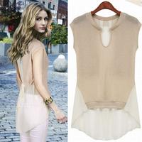 2014 Women's New sleeveless Chiffon Patchwork Top Women Medium-long Shirts Blouse S, M, L, XL