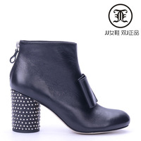 Jj women's shoes double j 2013 calf skin bow rhinestones thick heel zipper small boots