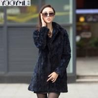 Free shipping 2014 winter coat suit collar rex rabbit hair fur female outerwear overcoat long design women's Natural fur coat