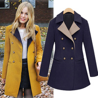 Fashion women's 2013 winter woolen overcoat outerwear long-sleeve double breasted woolen outerwear overcoat 9456 freeshipping