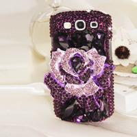 For samsung   i9300 luxury purple shaped diamond large rose i9308 mobile phone protective case rhinestone