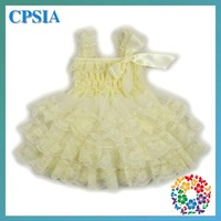 Ivory one year baby party dresses Chiffon Lace Ruffled Petti baby dresses wholesale baby girls party wear dress-24pcs/lot