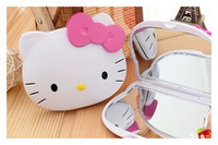 Cute Pink KT Head Hello Kitty Two-sided Portable Makeup Mirror Free Shipping