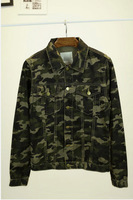 Slim short jacket Camouflage design outerwear vintage tooling trend jacket outerwear