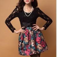 2014 elegant woman korean lace patchwork bud dress Women's  Painting flowers Pattern Splicing Lace + Woolen Dress With Belt