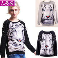 New 2013 Fashion Women Sweatshirt Hot Selling Big Size 3D Tiger Print Novelty Sport Wear Autumn-Summer Punk Rivet Pullover 22006