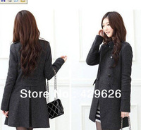 2013 New Women's Trench Coat Fashion Wool Blends Slim Lovely dark  gray Jacket 0285