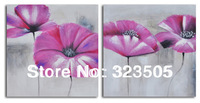 2 panel Abstract modern wall art canvas large unframed abstract pink flower poppy  picture oil painting on canvas free shipping