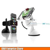 New car GPS navigation support phone holder clip bracket white black 360 rotary phone holder