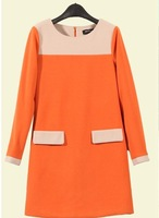 2013 women's patchwork woolen basic skirt plus size elegant one-piece dress