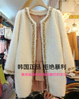 2013 plus size casual ol elegant diamond woolen outerwear trench fashion women's