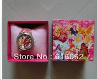 Free Shipping 1pcs New style Cartoon Winx Club Wristwatch Kids Lovely Fashion Watches Children Watch With Gift Box