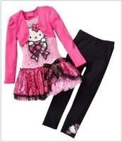 Hot Sale 2013 New Arrival Child Girl Suit Long Sleeve False 2pcs Hello Kitty Dress+Black Pants Girl Set Free Shipping