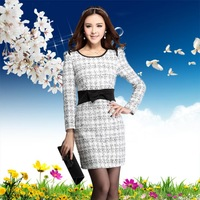 New arrival 2013 autumn and winter small elegant plus size woolen long-sleeve plaid basic autumn one-piece dress 5134