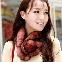 2013 fur muffler scarf female rabbit fur scarf single ball full leather rabbit fur muffler scarf g15