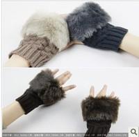 Fashion Winter Arm Warmer Fingerless Gloves, Knitted Fur Trim Gloves Mitten s002