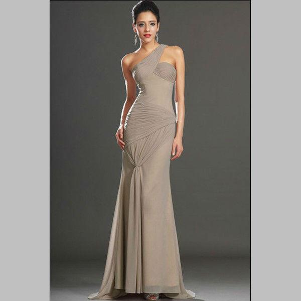 cheap-Fabulous Fat Size One-shoulder Terreous Chiffon Evening Dress(China (Mainland))
