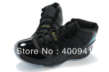 Free Shipping Wholesale Famous Trainers Retro XI 11 men and women  Sports Basketball Shoes (Black / Gamma Blue) Size:5.5---13(China (Mainland))