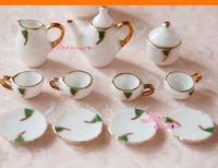 Dollhouse Miniature gREEN ART porcelain China Coffee Tea Lid Pot Cups Set 11 PCS