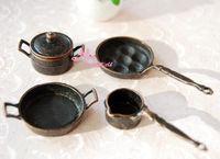 Lots Of 4PCS For Cook 1:12 Dollhouse Miniature Vintage Metal Frying Cake Milk Pan Pot Cooking