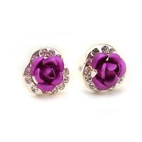 Accessories magnetic diamond rose stud earring earrings 0067