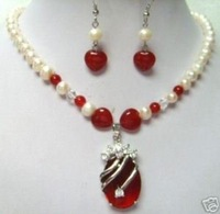 Red Jade Necklace and earrings Set Free shipping