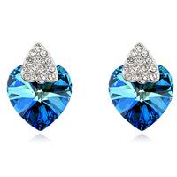Free shipping Marine ly00113 austria crystal female heart stud earring earrings fashion