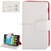 Litchi Texture Flip Leather Case with Credit Slots and Holder for LG Optimus L4 II / E440 (White)