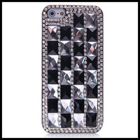 Black and white  diamond  case for iphone 5 5s extravagant  cases for  iphone 4 4s  moblie phone free ship