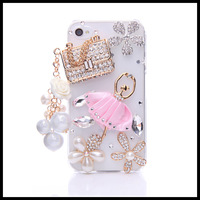 Ballet Sachet  case for iphone 4 4s diamond flower cases for  iphone 5 5s moblie phone  shell free ship