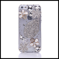 Extravagant  flower case for iphone 5 5s   hand diamond  cases for  iphone 4 4s moblie phone free ship