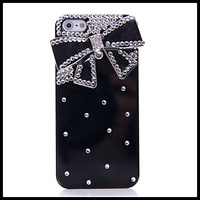 Bowknot  black case for iphone 5 5s  diamond   cases for  iphone 4 4s  moblie phone free ship