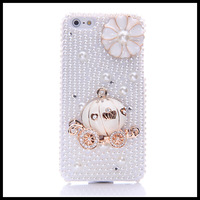 Fashion  Diamond  pearl  case for iphone 5 5s   Pumpkin  flower cases for  iphone 4 4s moblie phone free ship