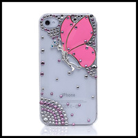 Butterfly oil painting case for iphone 4 4s Transparent cases for  iphone 5 5s moblie phone  shell free ship