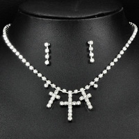 Min Order $5 (Mix Order)  Fashion Jewellery Crystal Rhinestone Cross Necklace Stud Earrings Sets 6149 Free Shipping